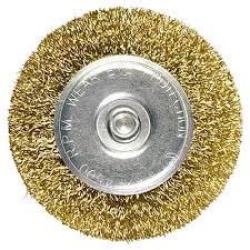 <b>Щетка для дрели</b>, 40 мм, <b>плоская</b> со шпилькой, латунированная ...