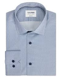 <b>Diamond</b> Geo <b>Print</b> White and Navy <b>Single</b> Cuff Shirt | T.M.Lewin