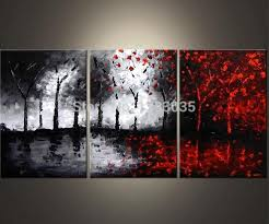 <b>Hand Painted</b> Oil Wall Art <b>Abstract Black</b> White And Red Paintings 3 ...