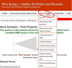 work samples past projects wes kemp > online portfolio and resume hover cursor over work samples at top of page as shown below to access drop down menu of images