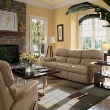 Yellow Living Room Decorating Living Room White Shelves Gray Sofa Brown Chairs Gray Recliners