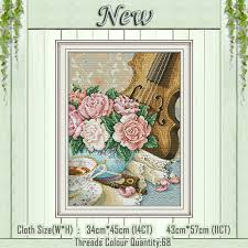 <b>Violin</b> flowers coffee paintings counted printed on the canvas DMC ...