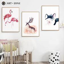 <b>Nordic Style</b> Kids Canvas Painting Cartoon Animal Art Wall ...