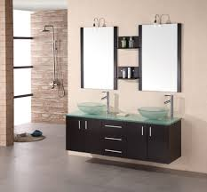 stainless steel sink racks ampquot whitehaven: iron  cool black floating bathroom vanity designed with double bowl acrylic sinks under rectangular wall mirrors decor