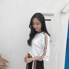 <b>women</b> t-shirts <b>cute Rainbow Striped</b> Side Black White T shirt Tee ...