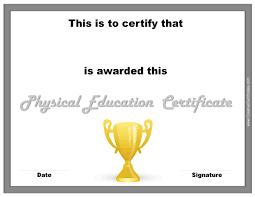 physical education certificates pe certificate