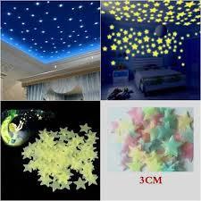 <b>100 Pcs 3D Stars Glow</b> In The Dark Luminous Fluorescent Wall ...