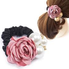 Girls Rose <b>Pearl</b> Elastic Hairband Fabric Flower <b>Gum</b> For <b>Hair</b> ...