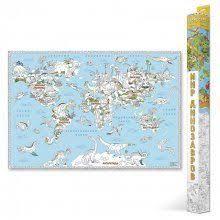 карта раскраска глобусный мир динозавры 30037
