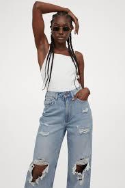 Loose <b>Straight High</b> Jeans - Light denim blue/Trashed - Ladies   H&M
