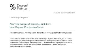degroof petercam communication communiqueacute de presse degroof petercam