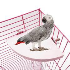 Dilwe <b>2Pcs</b> Wooden Fan Shape <b>Bird</b> Cage Perches Stand Platform ...
