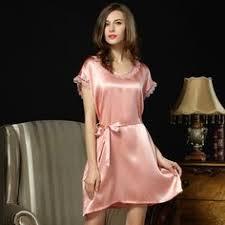 <b>100</b>% <b>Genuine Silk Nightdress</b> Female Cute Lace Round Neck ...
