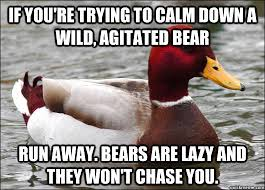 If you're trying to calm down a wild, agitated bear run away ... via Relatably.com