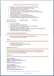 assistant chef cv template   tips and download – cv plazaassistant chef cv template page