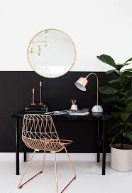 pin the copper metal chair with slight aztec cutouts adds a touch of colour and accents the copper lamp pencils and candle holders bedroomalluring members mark leather executive chair