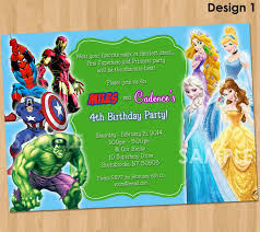 double party invitation superheroes and princesses 🔎zoom