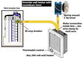 override bathroom heater with timer 240v Thermostat Wiring override 240 volt wall heater with timer or switch wiring 240v thermostat