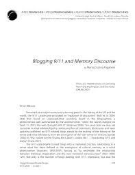blogging 9 11 and memory discourse this is only a preview