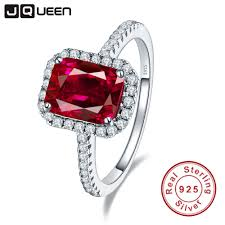 hot sale 2 6ct pigeon blood red ruby engagement wedding ring pure solid 925 sterling silver square cut promotion jewelry