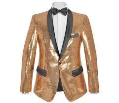 vidaXL Men's Sequin Dinner Jacket Tuxedo Blazer <b>Gold</b> Size 52 ...