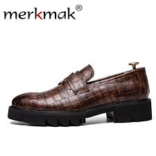 Merkmak New <b>Crocodile Pattern</b> Dress <b>Shoes Men Loafers</b> Slip On ...