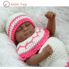 <b>28cm</b> Black Full body Silicone Reborn Baby Dolls Toys <b>Sleeping</b> ...