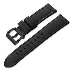 Oboe 22mm Smart Watch <b>Genuine Leather</b> Plus <b>Silicone</b> Band Strap...