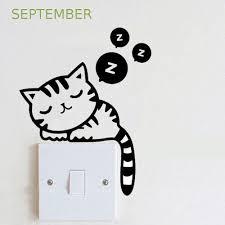 Home Décor <b>Cute Kitten Switch Sticker</b> Bedroom Decorative Wall ...