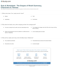 quiz worksheet the grapes of wrath summary characters print the grapes of wrath summary characters themes worksheet