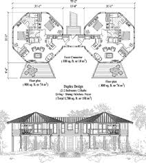 Commercial House Plans   Topsider HomesCommercial House Plan COMM Multi Family Elevated Duplex Floor Plan