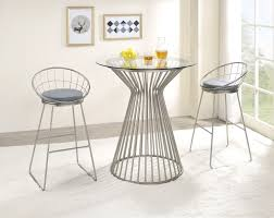 <b>3</b>-<b>piece Bar Set</b> Grey and Satin Nickel - Coaster Fine Furnitu