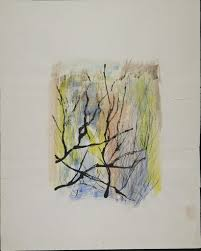 Untitled (Branches before abstract background in <b>black</b>, <b>yellow</b>, blue ...