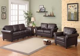 brown pc reclining leather living room:  living room furniture dark brown leather loveseat with short brown wo