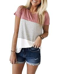 <b>Women's Summer Short Sleeve</b> Striped Junior Blouse Casual Tops ...