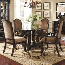 dining table glass top wooden chair  dark brown wooden base carving with shelf for round glass top table p