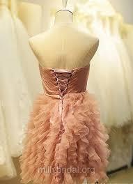 Short/Mini Pearl <b>Pink</b> Tiered <b>Tulle Lace</b>-up <b>Beautiful</b> Ball Gown ...