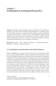 socialization in sociological perspectives springer inside