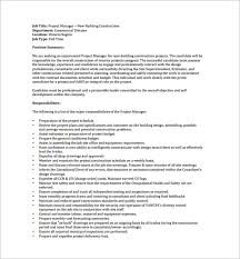 project manager job description templates – free sample    construction project manager job description example pdf free download