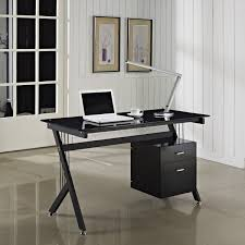 pc table black glass computer desk pc table home office black glass office desk 1