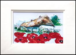 Cottage Garden Mounted <b>Print</b> - Oriental <b>Poppy</b> - Lucy Erridge Adare