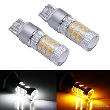 no hyper flash 7443 led canbus 21w w21 5w t20 switchback white amber bulbs for daytime running lights turn signal lights 12v