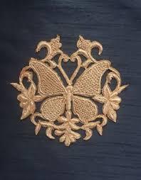 Golden Zari Butterfly Embroidered Applique,Indian <b>Handmade</b> ...