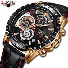<b>LIGE</b> 2019 <b>Men's</b> Casual Leather <b>Sports</b> Waterproof <b>Watch</b> + Box ...