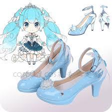 <b>New 2019 Vocaloid</b> Snow <b>Miku</b> Cosplay Shoes Lolita Shoes Blue ...