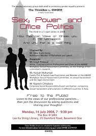 the thinkbox by aware presents sex power and office politics our partner the association of women for action and research aware is organising a public forum on sexual harassment in the workplace and maruah member
