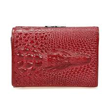 Royal Short <b>Genuine Leather</b> Women Female Shining Alligator ...