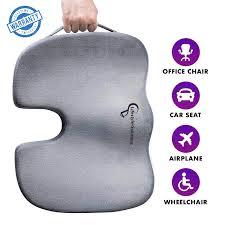 Gray <b>Orthopedic Memory Foam Coccyx</b> Seat Cushion <b>Tailbone</b> Pain ...