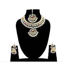 Indian Bollywood Multi Color <b>Pendant Necklace Earrings Jewelry</b> Set