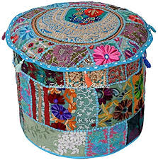 Stylo Culture Traditional <b>Round Pouffe</b> Seat <b>Cotton Patchwork</b> ...